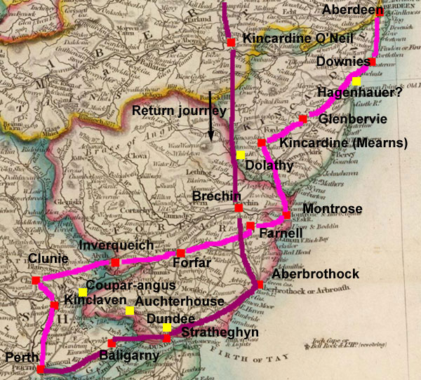 Routes taken by Edward the First in his  1296 invasion